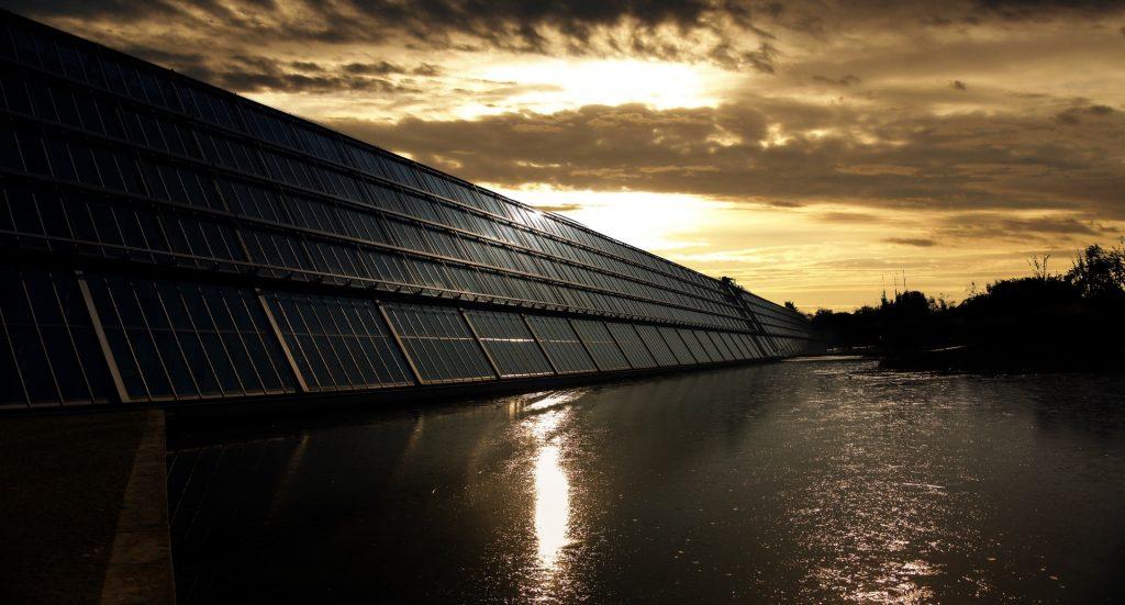 Solar Farm With Sunset